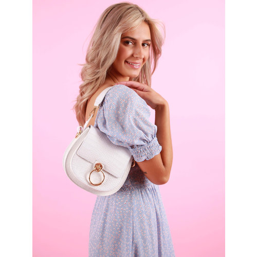 TEATRO Leather Bag Gold Circle Croco White