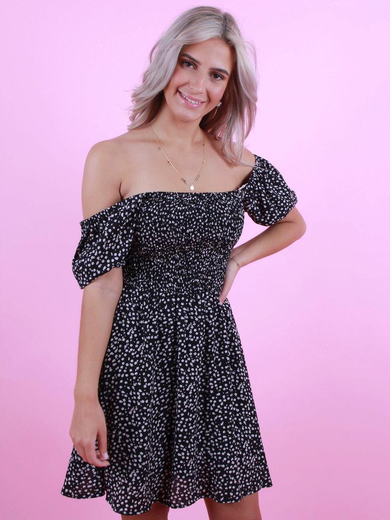 EIGHT PARIS Little Flower Print Dress Black