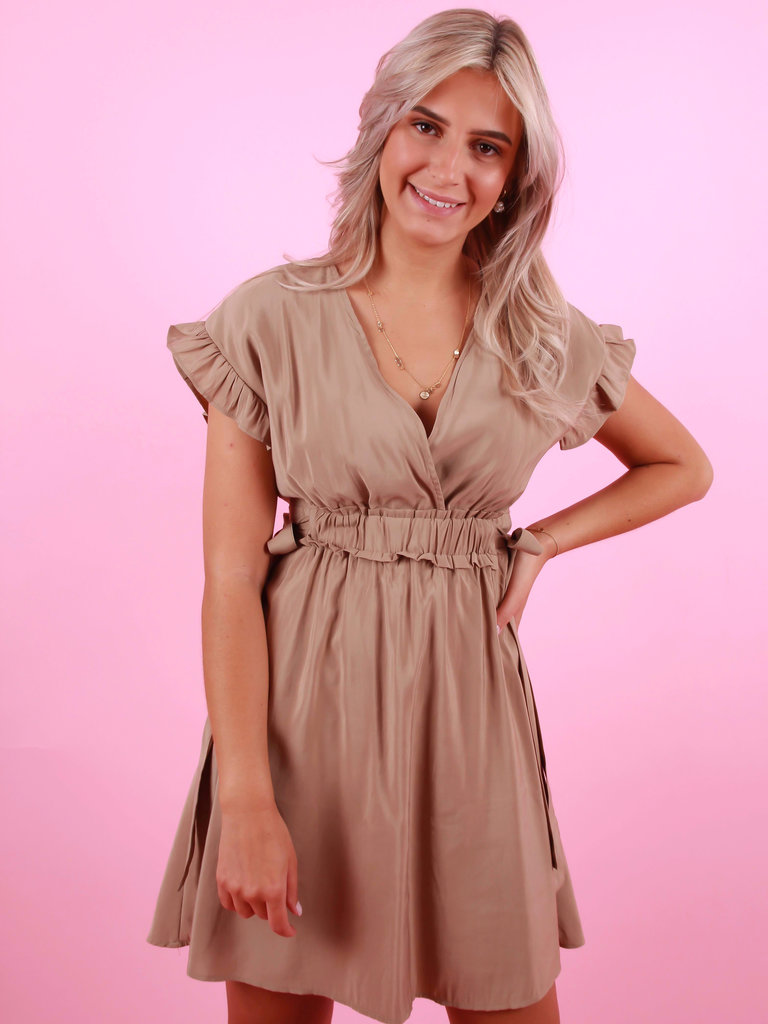 BISOU'S PROJECT Side Bow Open Back Dress Taupe