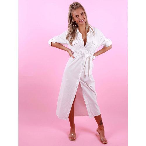 CIMINY Maxi Utility Dress White