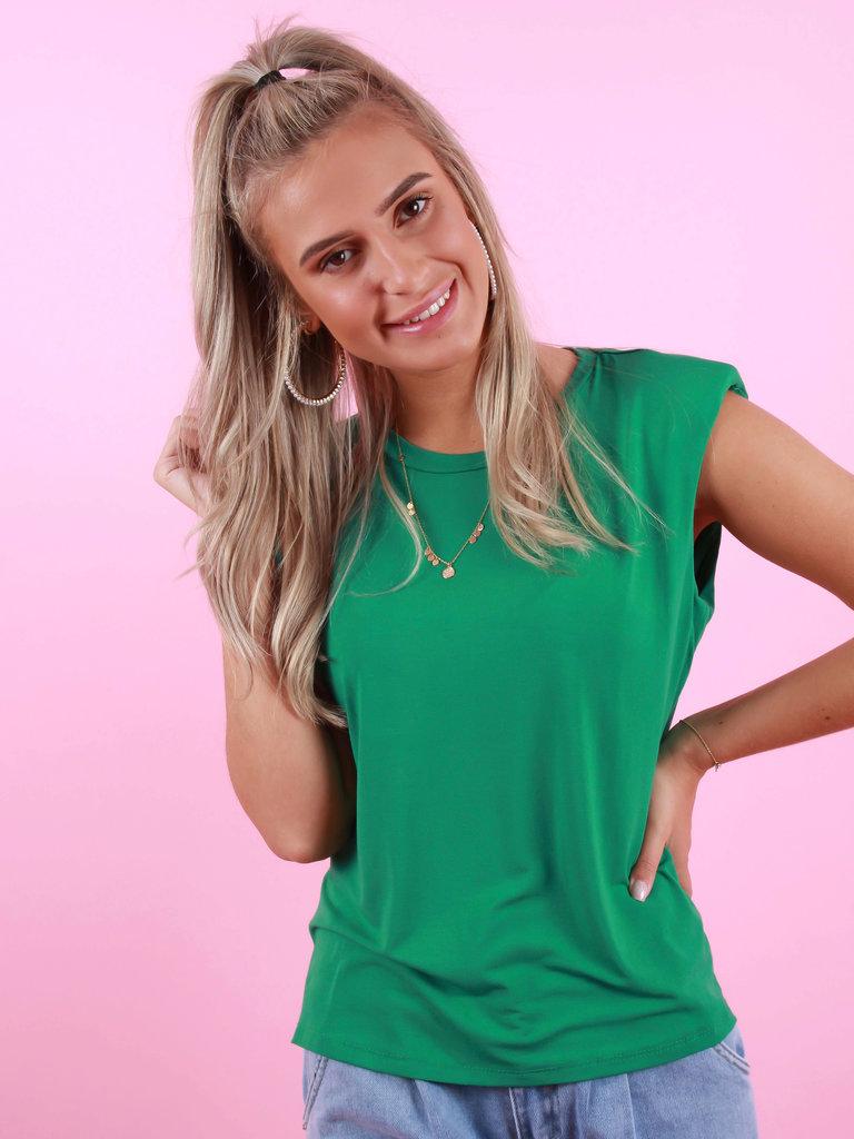 MY LOOK T-Shirt Met Schoudervulling Groen