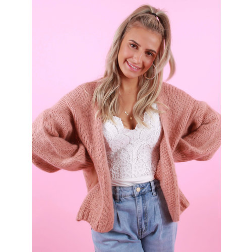 MIKA ELLES Knitted Cardigan Bright Rose