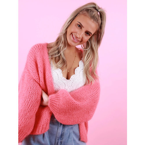 MIKA ELLES Knitted Cardigan Coral