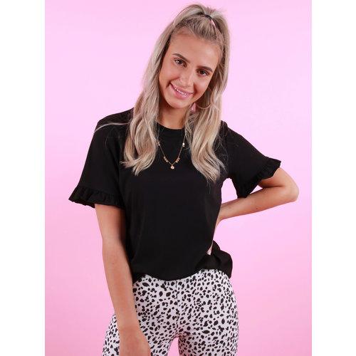JUMELLE Basic Shirt Ruffle Sleeve Zwart