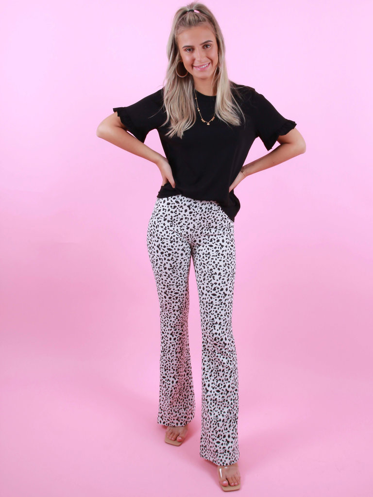 EIGHT PARIS Flared Pants Dot Wit