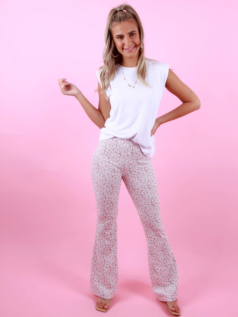 EIGHT PARIS Flared Pants Bloemen Roze