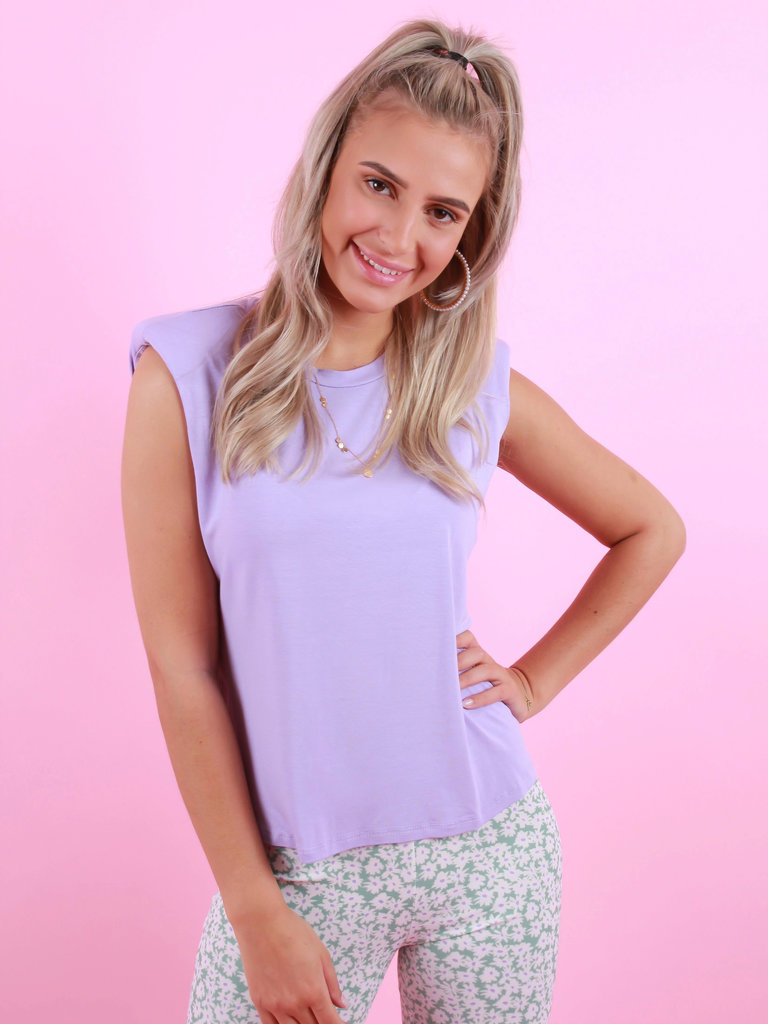 MY LOOK Shoulder Pad Shirt Lilac