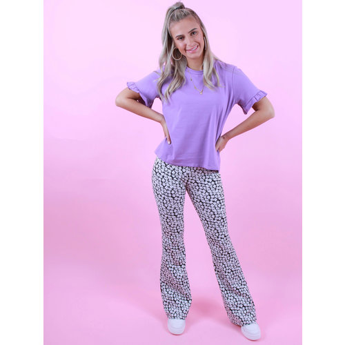 EIGHT PARIS Flared Pants Purple Flower Zwart