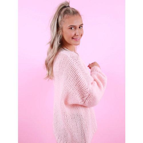 MIKA ELLES Knitted Cardigan Pastel Pink