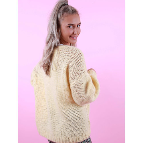 MIKA ELLES Knitted Cardigan Pastel Yellow