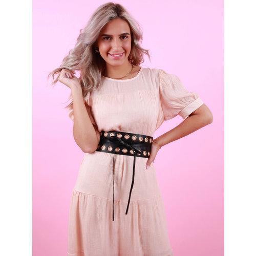 Ladylike  Fashion Wide Leather Belt Gold