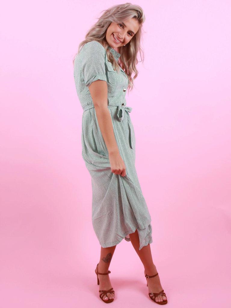 DRŌLE DE  COPINE Maxi Dress Dots Mint