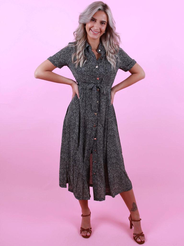 DRŌLE DE  COPINE Maxi Dress Dots Black