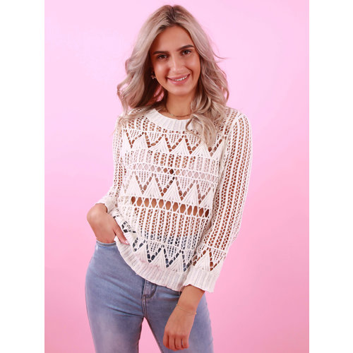 EXQUISS'S Crocheted Jumper White