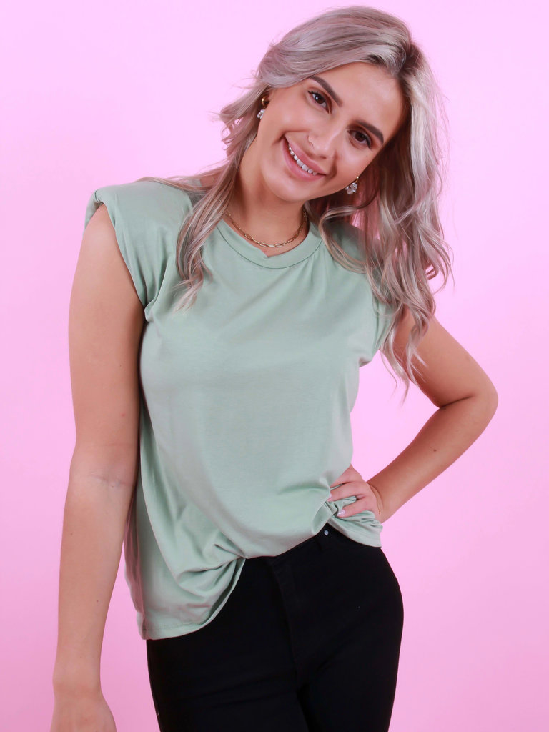 JUMELLE T-Shirt Met Schoudervulling Mint