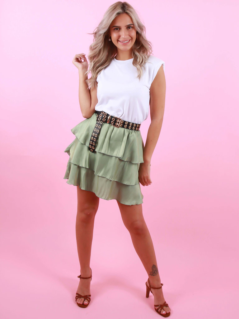 EIGHT PARIS Satin Ruffle Skirt Green