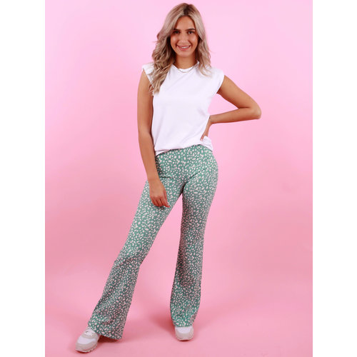 EIGHT PARIS Flared Pants Dot Mint
