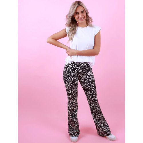 EIGHT PARIS Flared Pants Dot Zwart