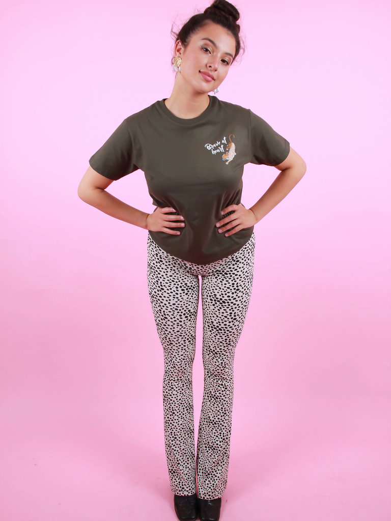 AMBIKA Soft Cheetah Flare Pants White