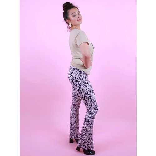 AMBIKA Soft Cheetah Flare Pants Lilac