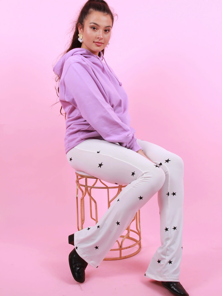 AMBIKA Flared Pants Ster Wit