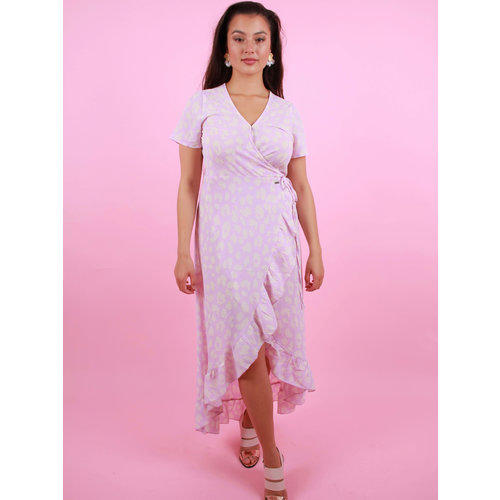 AMBIKA Maxi Wrap Dress Lilac Leopard