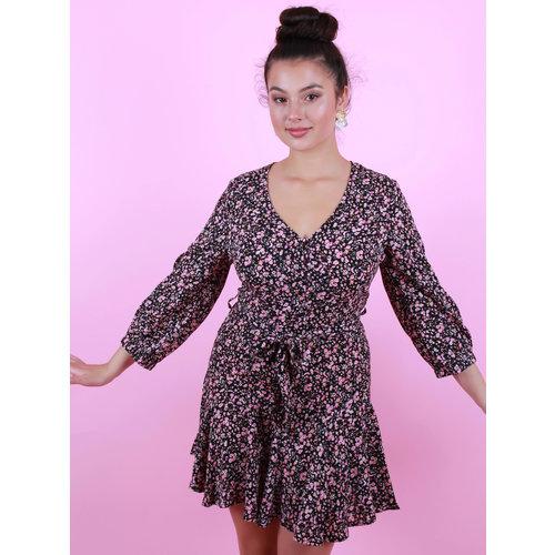 AMBIKA Flower Dress Black/Pink