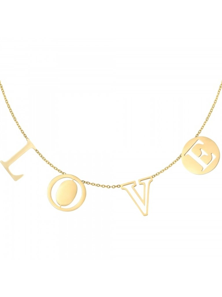 YEHWANG Necklace Letters Love Gold