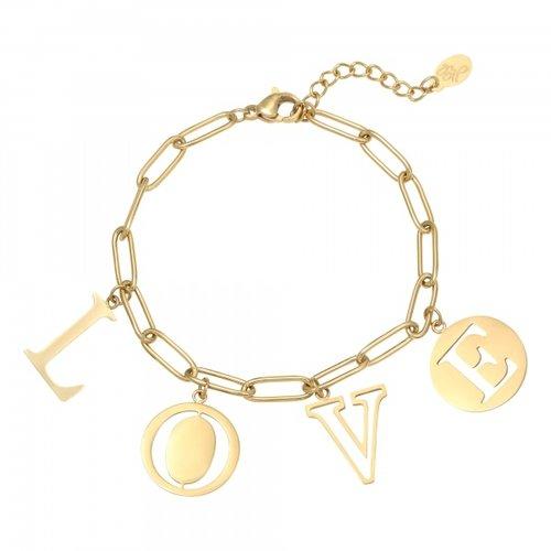 YEHWANG Bracelet Letters Love Gold