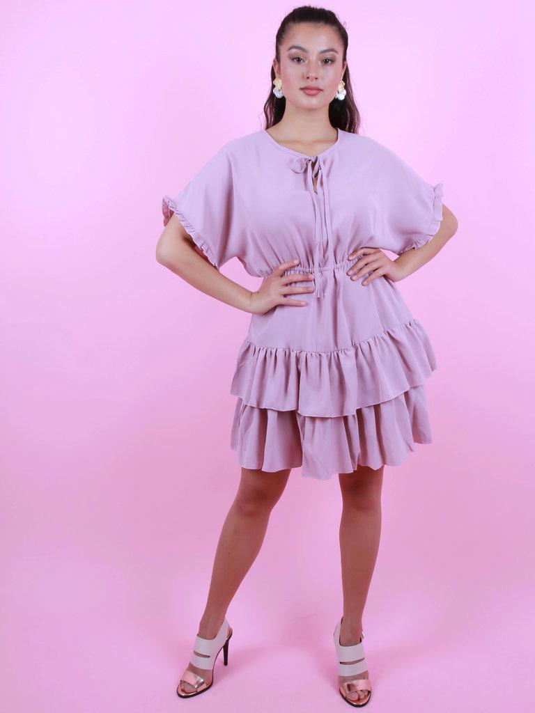 BY CLARA Ruffle Dress Pink