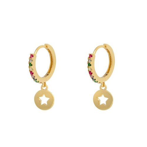 YEHWANG Earrings Shiny Star Multi Gold