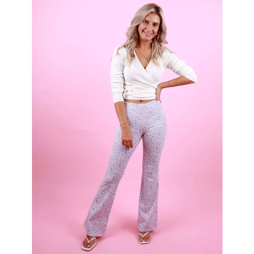 EIGHT PARIS Flared Pants Flower Lilac