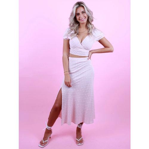 EIGHT PARIS Flower Midi Skirt Pink