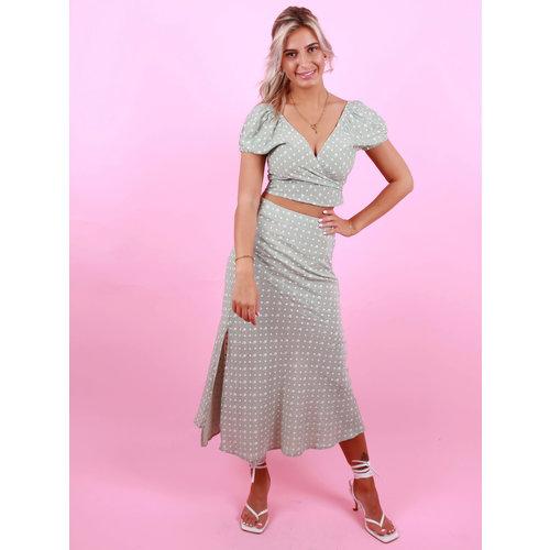 EIGHT PARIS Flower Midi Skirt Green