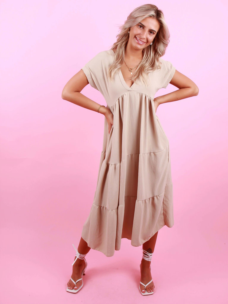 NEW COLLECTION Long Dress V-Neck Beige