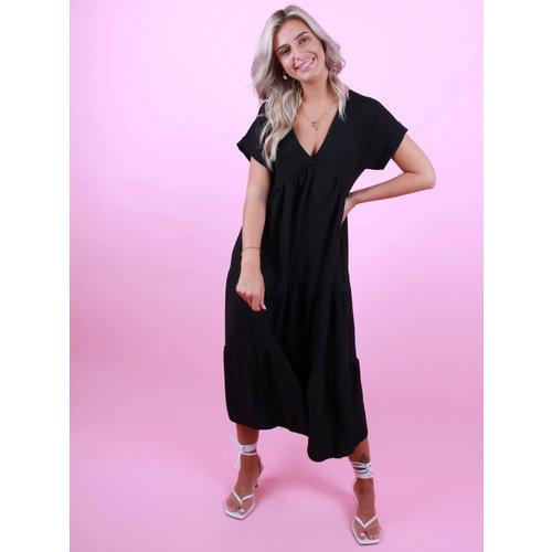 NEW COLLECTION Long Dress V-Neck Black