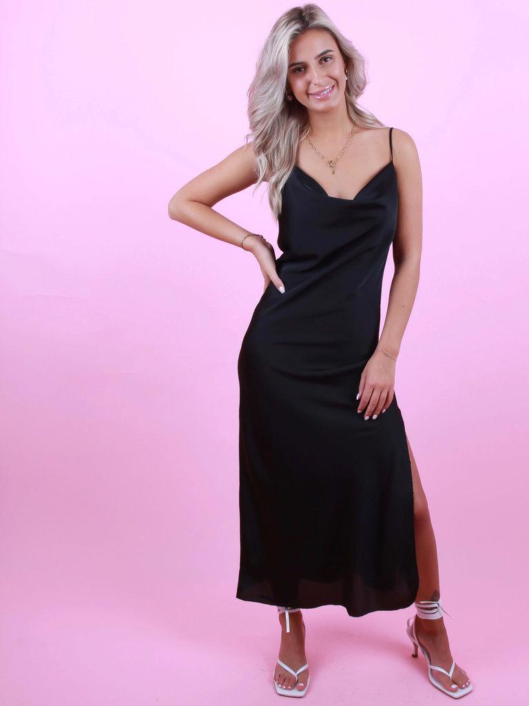 LADYLIKE FASHION Satin Dress Split Black