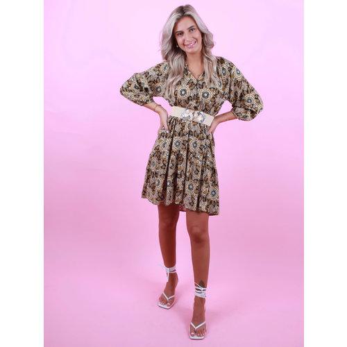 AN'GE Pretty Print Dress Brown