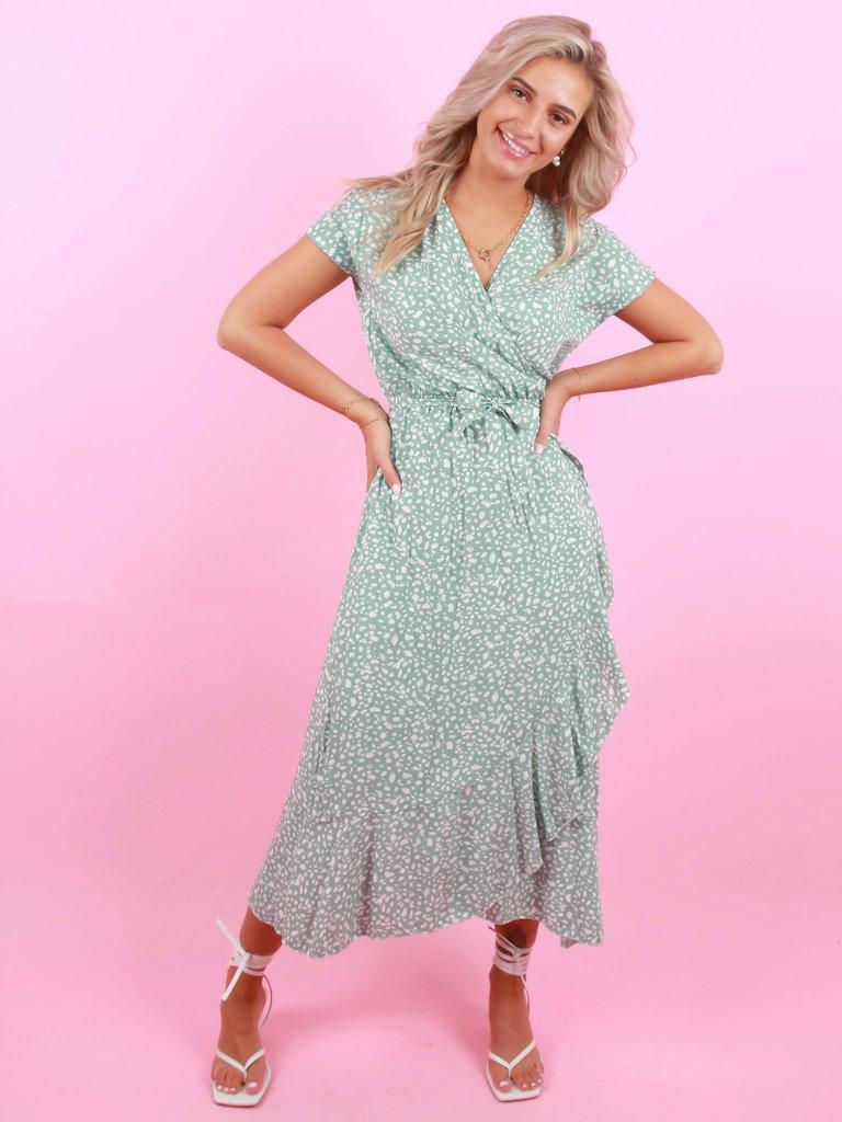 EIGHT PARIS Long Dots Dress Mint