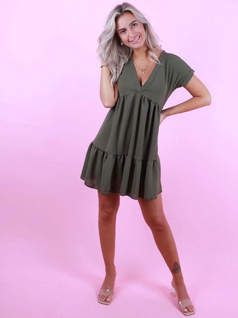 BELLE COPINE Dress V-Neck Green