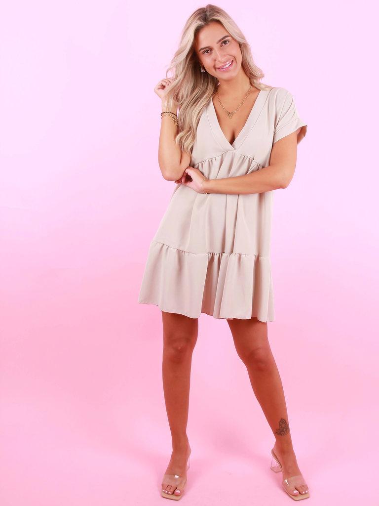 BELLE COPINE Dress V-Neck Beige