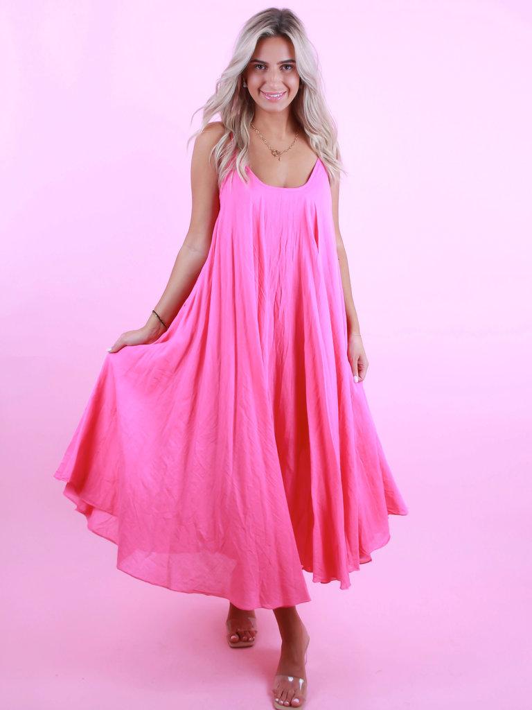 LADYLIKE FASHION Long Dress Fuchsia Pink