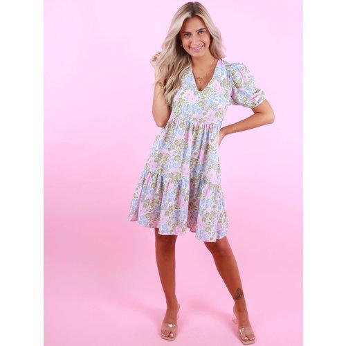 AN'GE Flower Print Dress Green/Blue