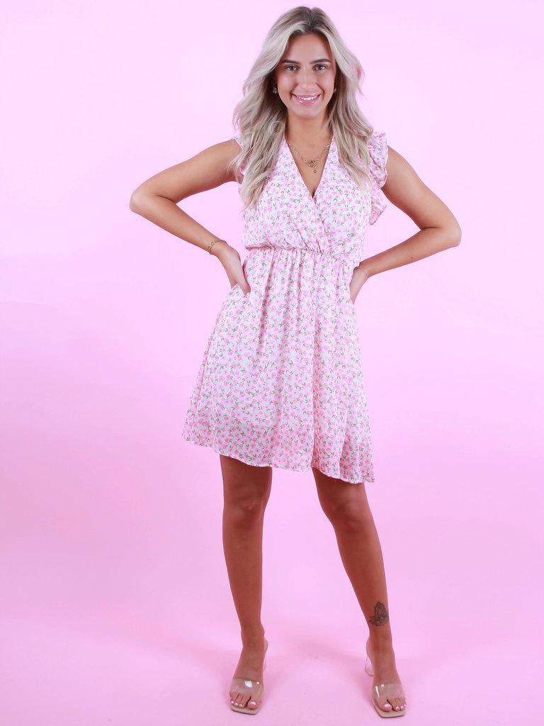 VINTAGE DRESSING Flower Dress V-Part Pink