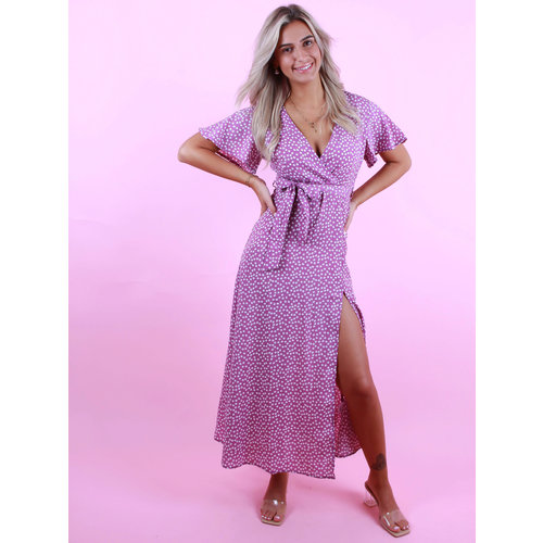 COPPEROSE Dress with White Flowers Purple