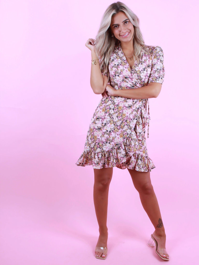 IVIVI Wrap Dress Flowers Pink