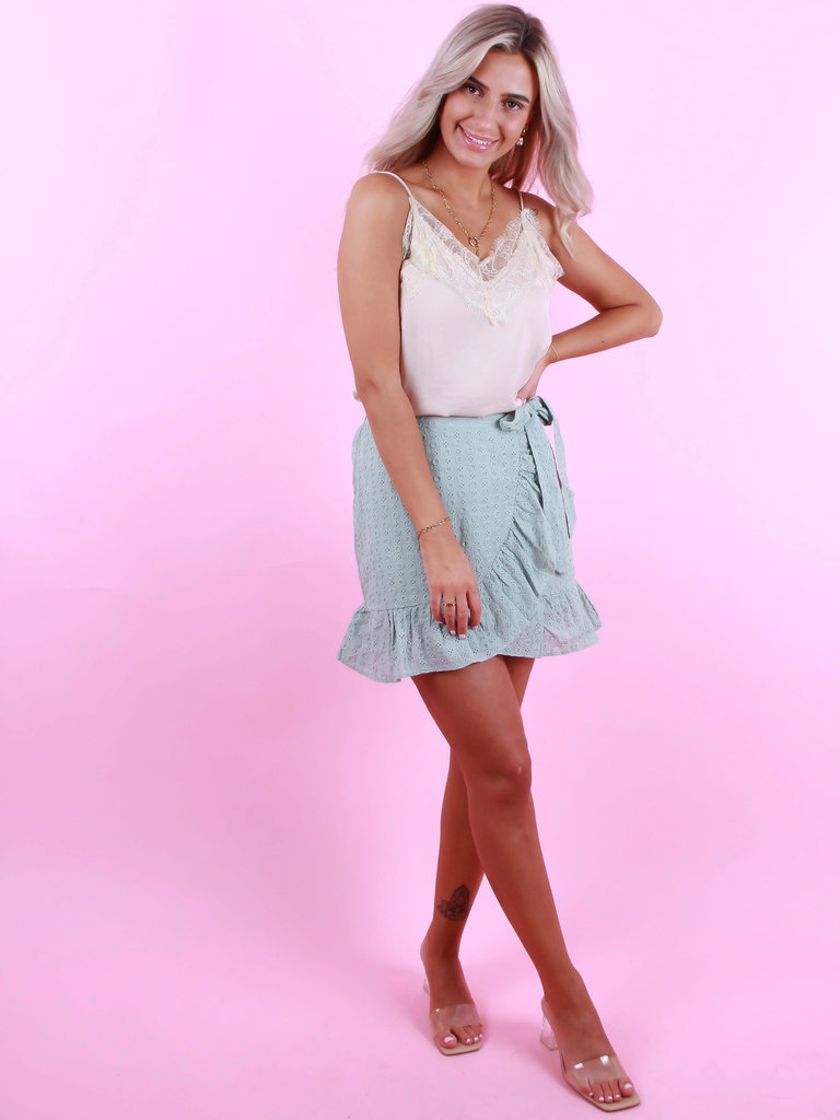 BY CLARA Broderie Anglaise Skirt Mint