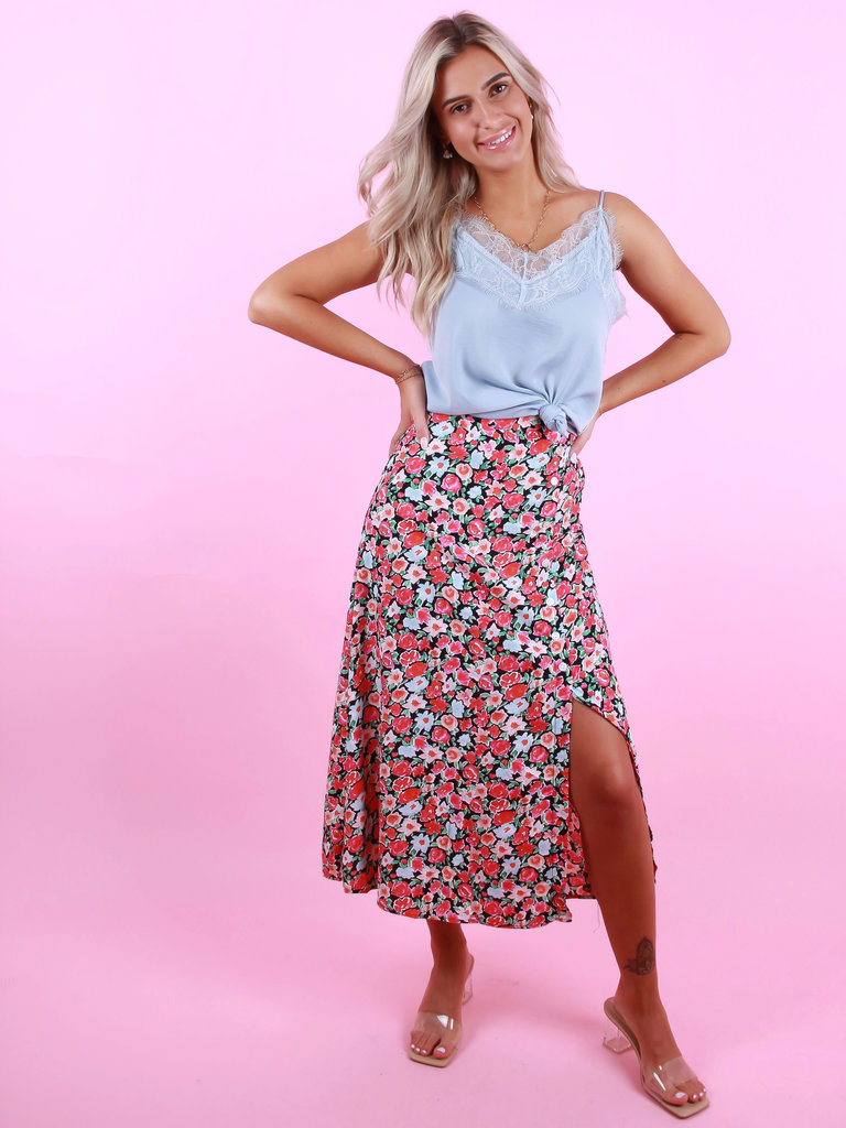 Button Skirt Roses Pink