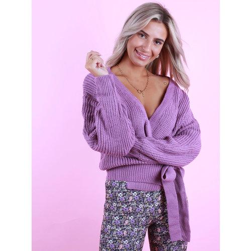 BY CLARA Wrap Cardigan Light Purple