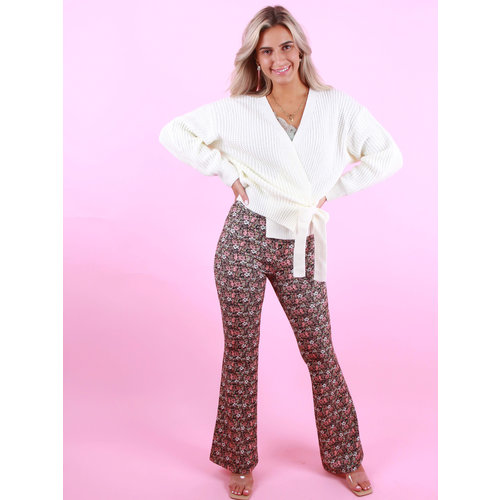 EIGHT PARIS Flared Pants Bloemen Print Roze